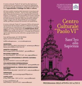 Programma 2014-2015 Centro Culturale Paolo VI - Sant'Ivo alla Sapienza - Roma-page-0